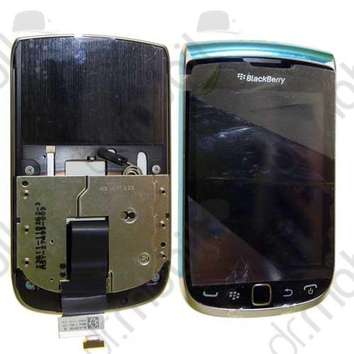 Előlap BlackBerry 9810 Torch komplett felső fekete (lcd, flex, erintő, slide, trackpad stb.)
