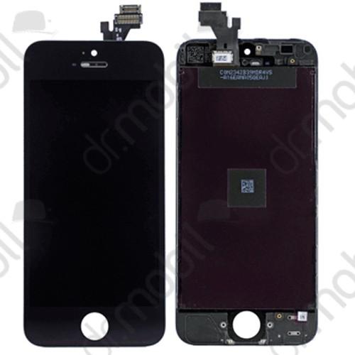 Előlap kijelző Apple iPhone 5 (lcd, érintőpanel, átvezető fóliával, keret) fekete