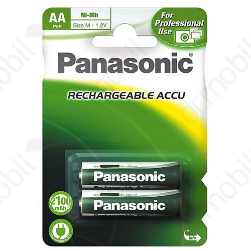 Elem újratölthető ceruza AA Panasonic újratölthető 2100 mAh AA ceruza akkumulátor - 2 db/csomag