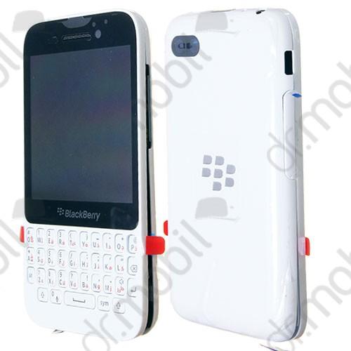 Előlap BlackBerry Q5 komplett ház (lcd, érintőpanel, akkufedél - hátlap, billentyűzettel) fehér