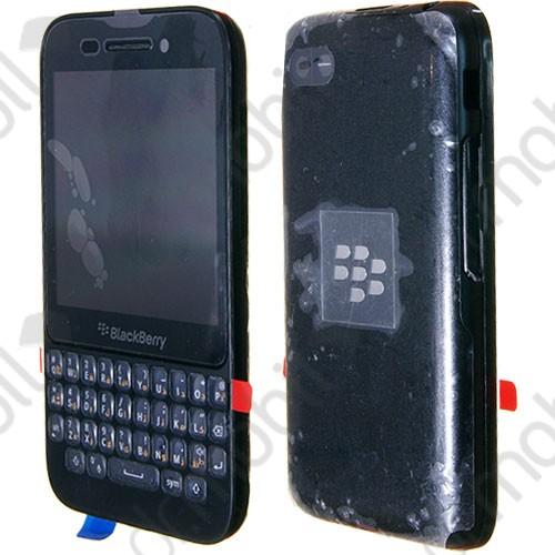 Előlap BlackBerry Q5 komplett ház (lcd, érintőpanel, akkufedél - hátlap, billentyűzettel) fekete