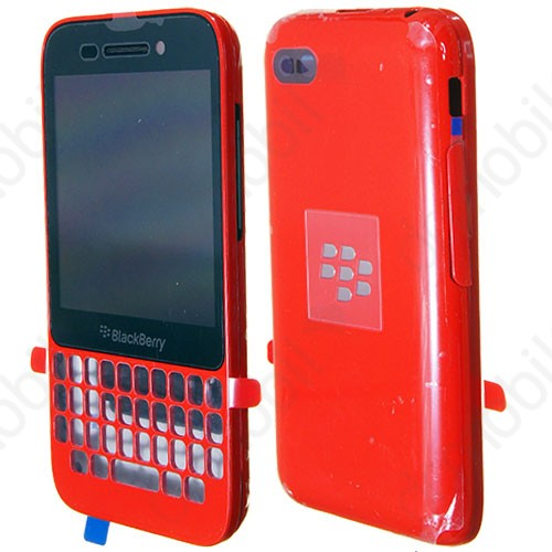 Előlap BlackBerry Q5 komplett ház (lcd, érintőpanel, akkufedél - hátlap) piros