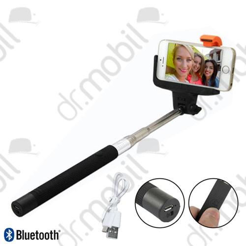 Selfie bot bluetooth tölthető akkumulátorral (távkioldó exponáló gomb, 21-92 cm hosszú nyél) fekete