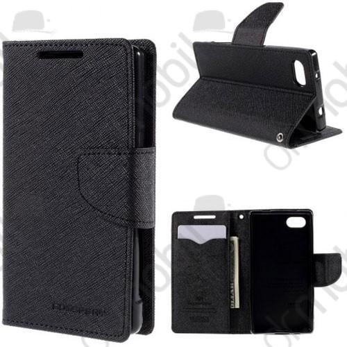 Tok álló bőr Lenovo A7000 Fancy (flip, mágneses, oldalra nyíló, bankkártya tartó) fekete