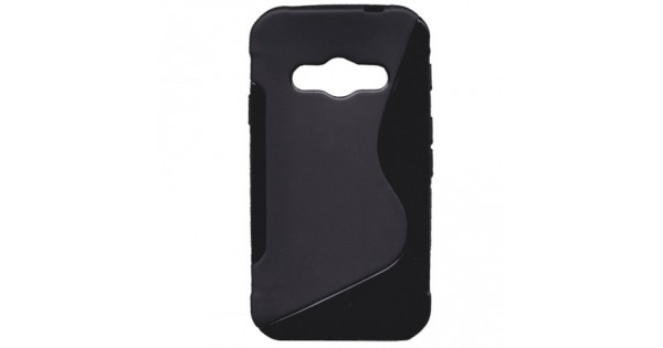 a34c1950f6 Tok bőrhatású szilikon Samsung SM-G388 Galaxy Xcover 3 hátlap tok fekete  S-line