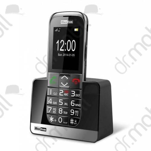 Mobiltelefon készülék Maxcom MM720BB szürke-fekete extra nagy gombokkal (asztali töltő tartó)
