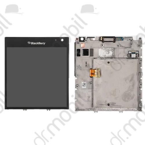 Kijelző előlap BlackBerry Q30 Passport (lcd, érintőpanel, átvezető fóliával, rezgő, proxy, hangszóró és keret) fekete