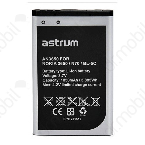 Akkumulátor Nokia 6230i 1050mAh Li-ion (BL-5C kompatibilis) A73543-B astrum