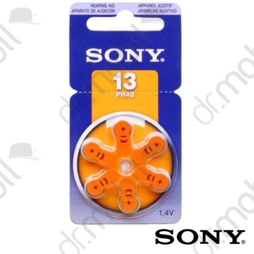 Elem Sony 13-as (PR48) hallókészülék elem 1,4V BL/6 - 1,4V - 6 db/csomag