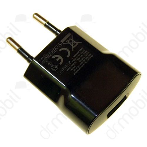 Hálózati töltő BlackBerry 9900 Bold Tuoch (USB aljzattal, kábel NÉLKÜL!) fekete